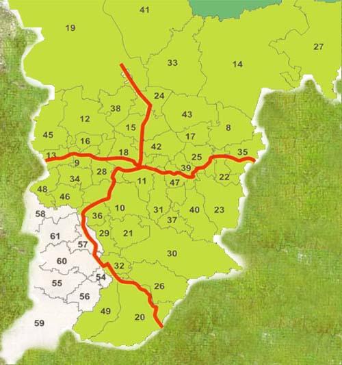 Схема автодорог Красноярского